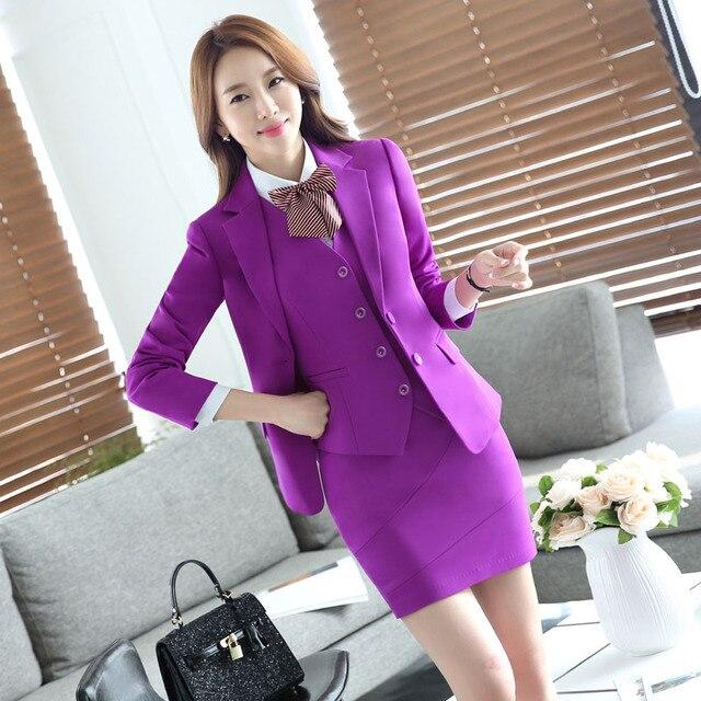 95ea6e4586e7 € 51.35 10% de DESCUENTO|2016 profesional Formal uniforme diseño Otoño  Invierno negocios trajes 3 piezas chaquetas + falda + chaleco señoras  Blazers ...