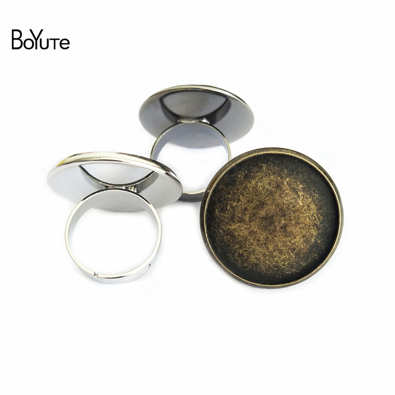 BoYuTe 10Pcs 25MM Cabochon Base Tray Ring Setting Diy Accessory Parts 7 Colors Adjustable Ring Blanks