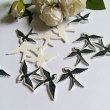 40 pcs/lot Swallow decorative Buttons no Hole Sewing Flatback Scrapbooking Painting Wood Mixed Accessories