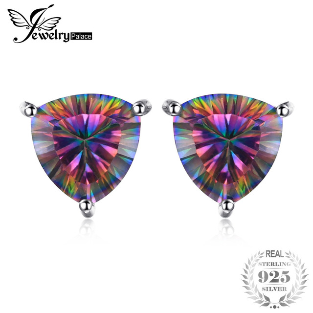 JewelryPalace Triangle 6.3ct Rainbow Fire Mystic Topaz Solid 925 Sterling Silver