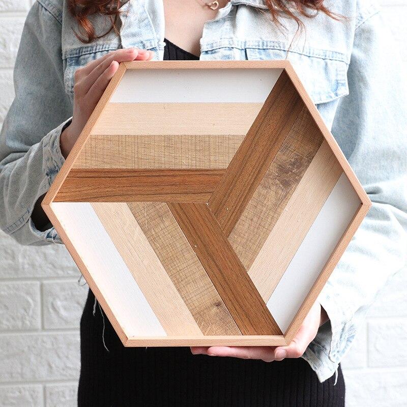 Plateau en bois Hexagonal de Style nordique plateau de service en bois créatif plateau de rangement de bureau