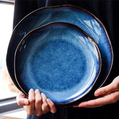 Prato de Cerâmica Retro Japonês Azul Profundo Comida Sobremesa Prato Irregular Casa Plana