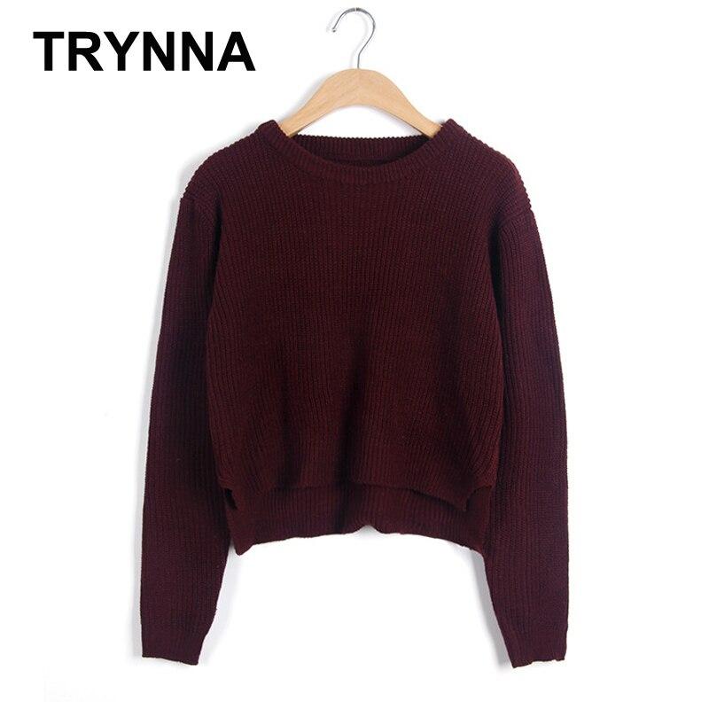 Mujeres pullover Suéteres estilo corto vino rojo invierno
