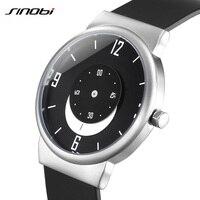 SINOBI Brand Ultra Thin Creative Mens Watches 2018 Moon Pointer Sport Quartz Watch Men Black Silicone
