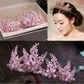 Rosa corona Nupcial, moldeado cristalino Tiara, Accesorios Pelo de la boda, accesorios nupciales del pelo, nupcial bling del pelo, nupcial corona de color rosa