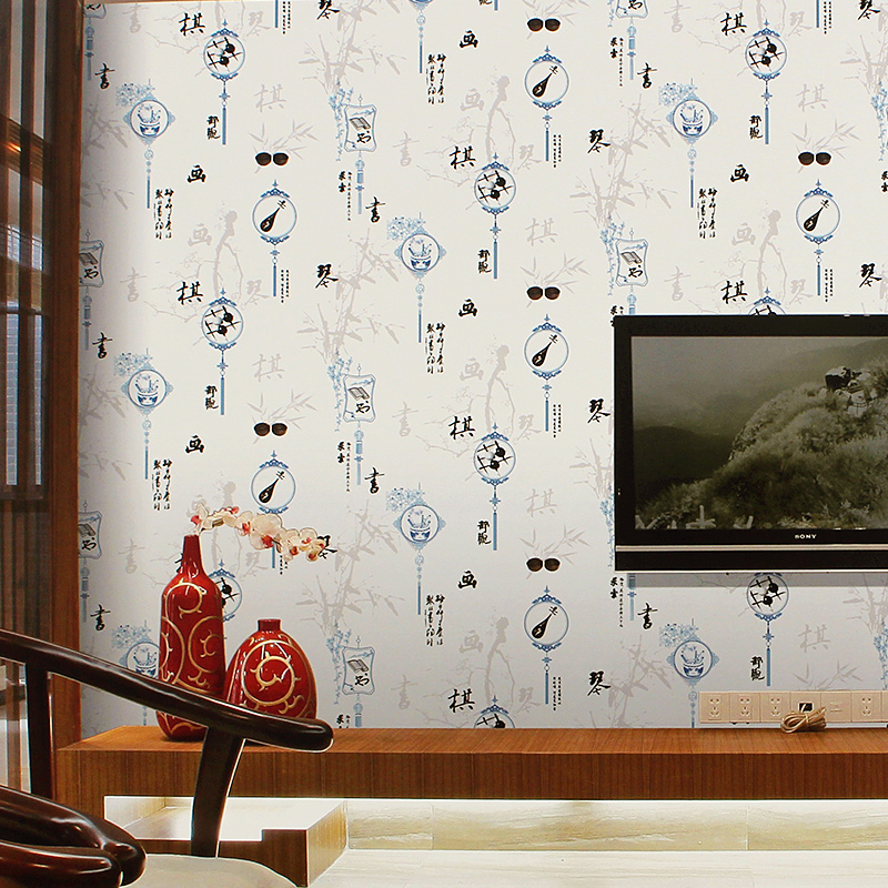 Chinese Style Classical Wallpaper Calligraphy Wall Paper Roll for Tea Shop Wall Wallpaper Art  Mural Home Decor Study Room Walls
