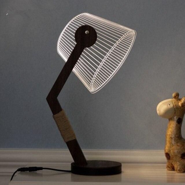 Handmade Wooden Diy 3d Table Lamp Creative Led Aesthetic Lighting
