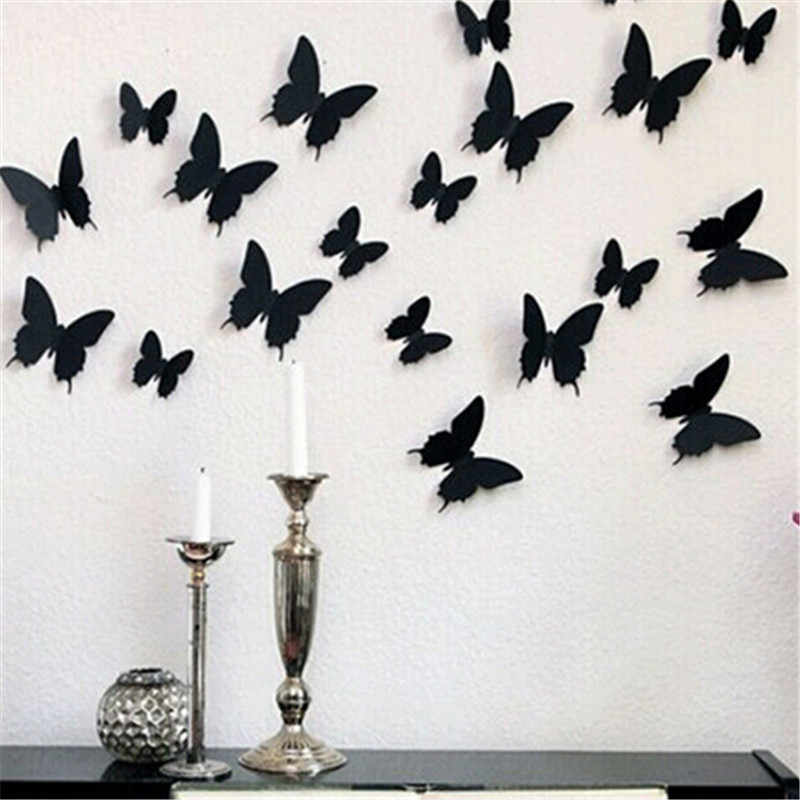 24 Pcs/Lot PVC 3D DIY Butterfly Wall Stiker Home Decor Poster untuk Ruang Dapur Perekat ke Dinding Decals Dekorasi