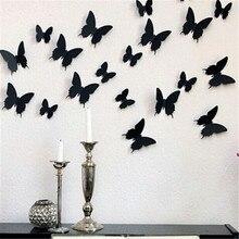 24 unids/lote PVC 3D DIY mariposa pegatinas de pared decoración del hogar cartel para la cocina habitación adhesivo a la decoración de calcomanías para pared