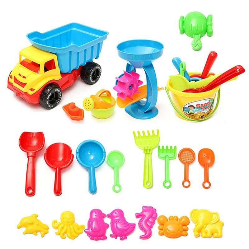 Kids Sandbeach Sand Play Toy Set 21Pcs Plastic Bucket Rakes Sand Wheel Watering Bath Toys For Children Outdoor Fun Game Toys