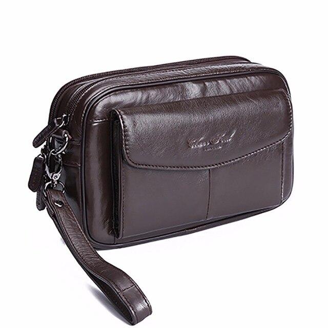 ac32194dd 100% جلد أصلي للرجال الأعمال حقائب يد حقيبة هاتف محمول السجائر محفظة الحقيبة  الأولى طبقة