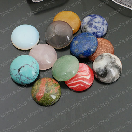 Wholesale 10mm/12mm/14mm/16mm/18mm/20mm Mix Color Natural & Synthetic Stone Flat Bottom Domed Cabochons Beads 10pcs(JM3853)