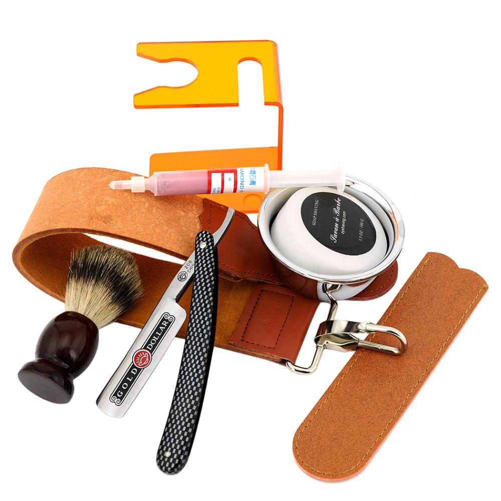 ZY 8pcs/set Straight Shaving Razor+Badger Shaving Brush+Stand+Shave Soap Bowl+Leather Sharpening Strop+Polishing Paste Barber