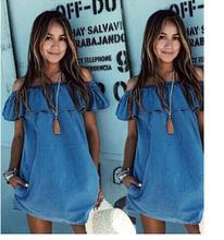 2016 vintage Women Frilly Elegant Jeans Dress off the shoulder Casual Blue short Women' s Summer Beach Party Denim Dresses