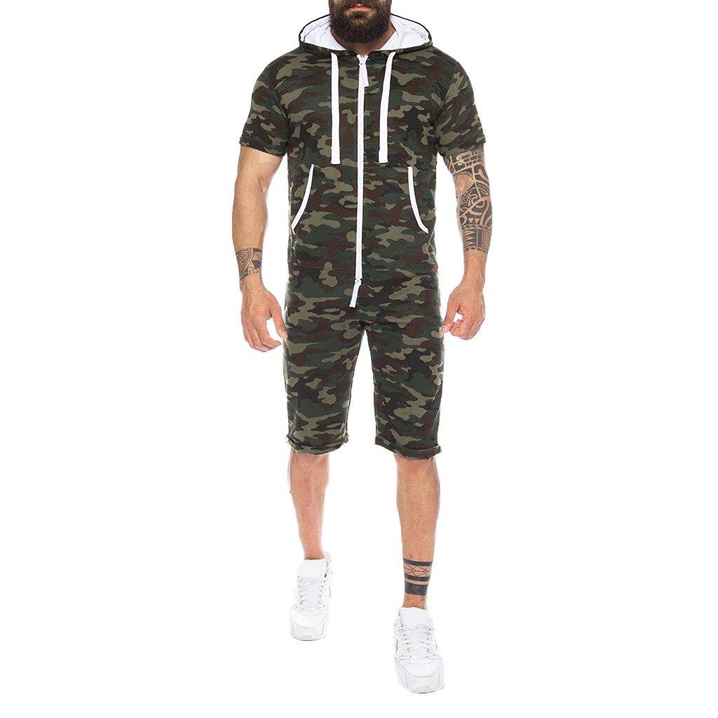 Actief Mannen Zomer Camouflage Splicing Jumpsuit Mode Pure-kleur Grote Maat Kleding Knop Losse Trekkoord Jumpsuit Droshipping