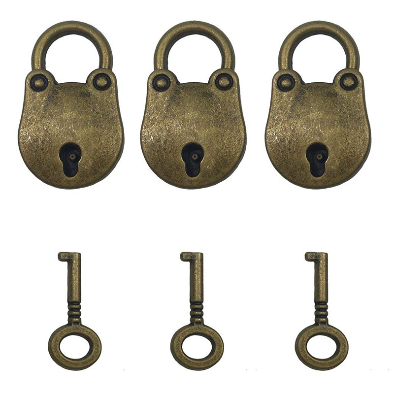 3 Pcs Vintage Antique Style Mini Bear Head Archaize Padlocks Key Lock With Keys Bronze