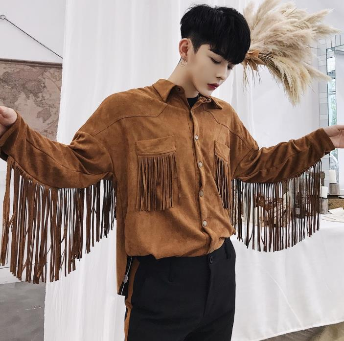 fashion punk slim sexy shirt men long sleeve shirt teenage korean Suede tassel shirt mens personality stage singer dance khaki in Casual Shirts from Men 39 s Clothing
