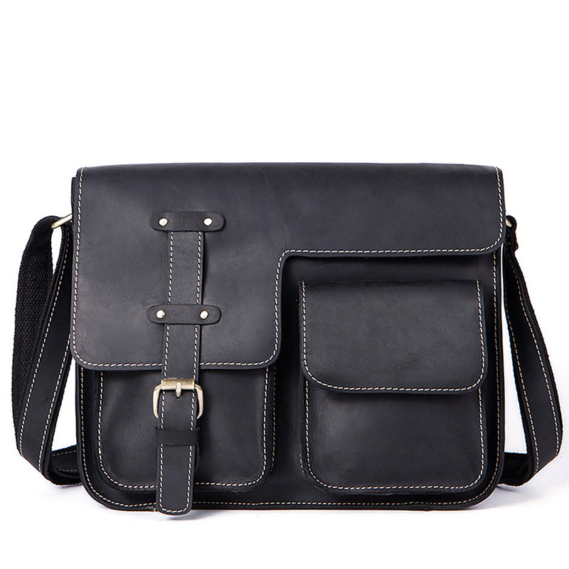 Vintage 100% Genuine Leather Handbag Men Briefcase Messenger Crossbody Bags Brand Natural Cowhide Travel Shoulder Bag For Men