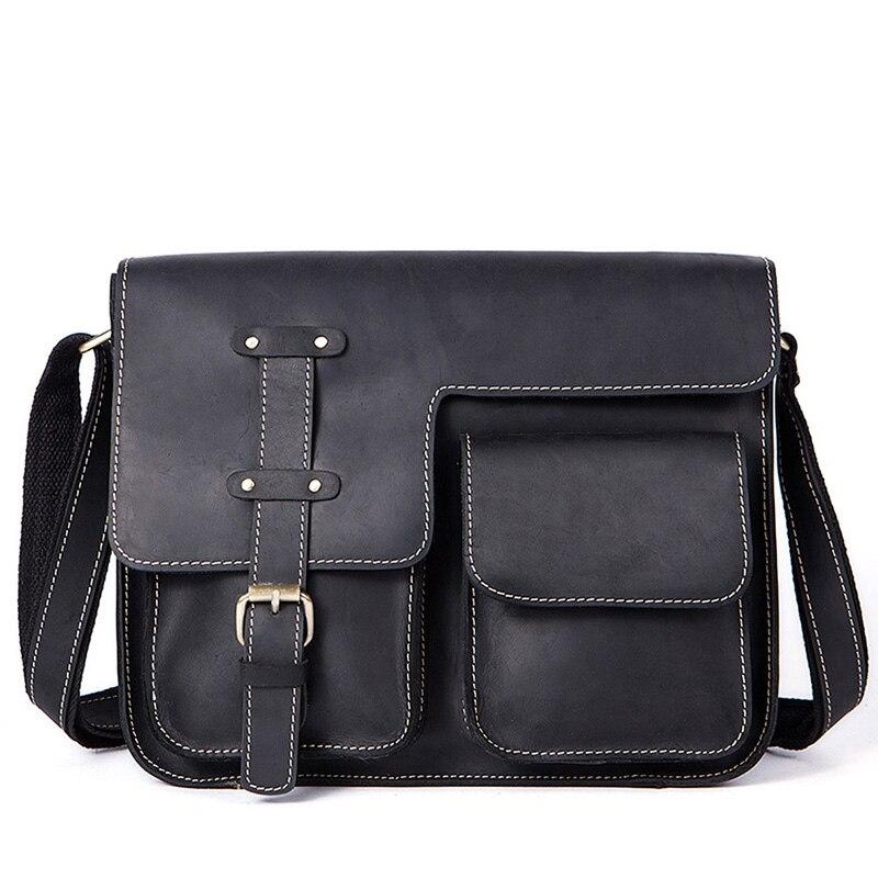 Vintage 100% Genuine Leather Handbag Men Briefcase Messenger Crossbody Bags Brand Natural Cowhide Travel Shoulder Bag For Men