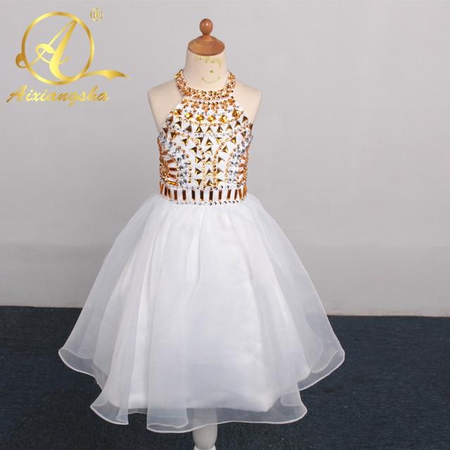 Real Picture Short Flower Girl Dresses Organza Golden