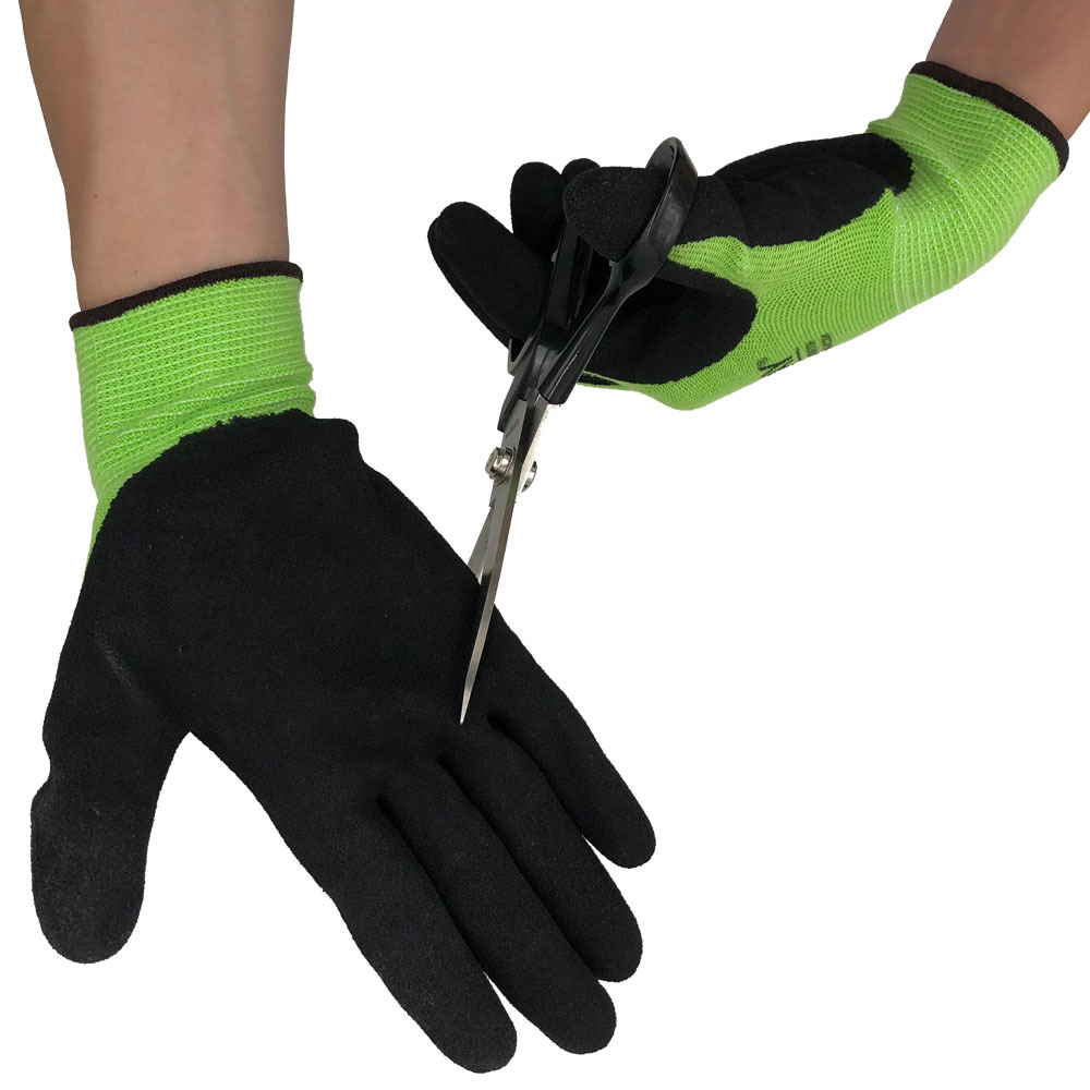 Wear-resistant Anti-slip Anti-cut Fluorescent Green Cotton Dingqing Dipped Gloves Catch Crabs Woodworker Water Protective Glove