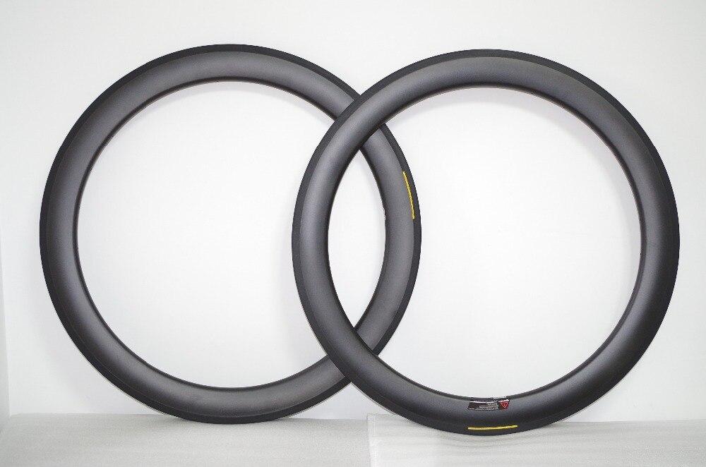 [TUBELESS] 50mm 700c Carbon Clincher Road Bicycle Wheel Rims 25mm Wide U Shaped Bike Rim Tubeless Ready 20/24H UD 12K MATTE