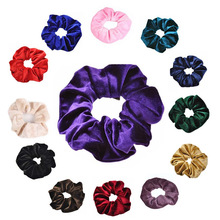 2Pcs 30 Colors Velvet Scrunchies Solid Elastic Band Donut Ponytail Holder Hair Wholesale Rubber Gum For Women