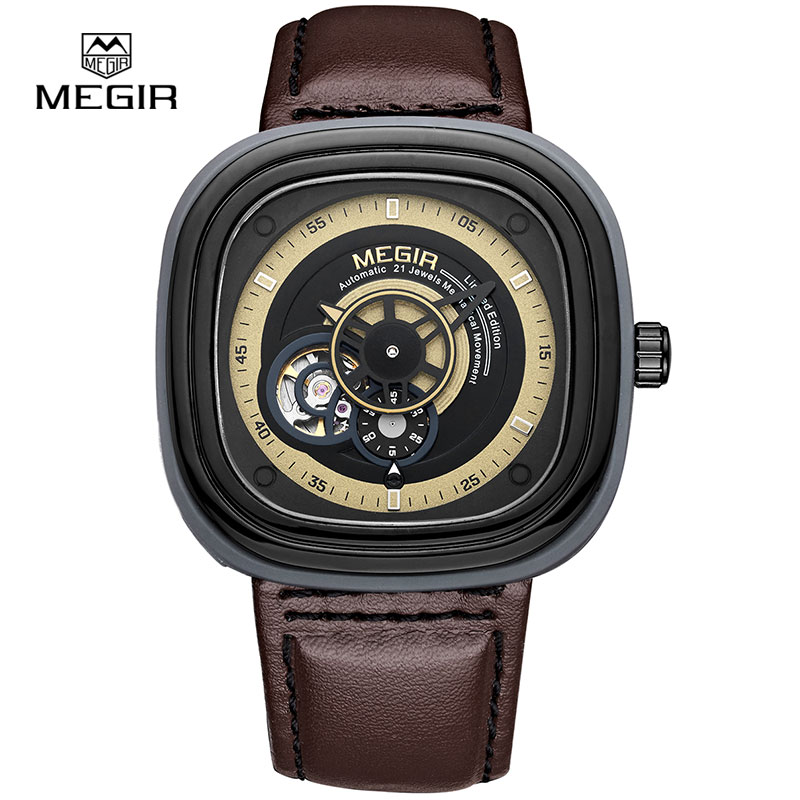 Megir Hollow Automatic Mechanical Watches Men Luxury Brand Leather Strap Casual Vintage Skeleton Watch Clock Relogio Masculino forsining gold hollow automatic mechanical watches men luxury brand steel vintage skeleton watch clock relogio masculino hodinky