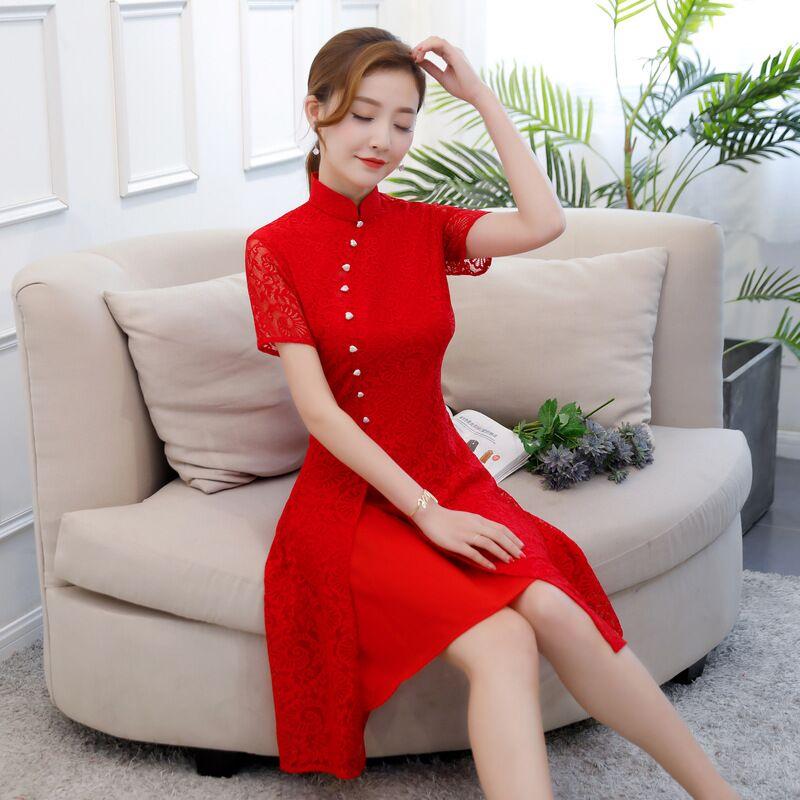 New Arrival Lace Cheongsam Red Vintage Chinese Short Style Womens Knee Leng Qipao Slim Dress Vestido Size S M L XL XXL XXXL