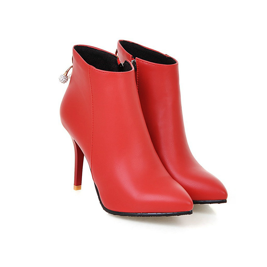 QUTAA Sexy Women Shoes PU leather Thin High Heel Ankle Boots Round Toe Zipper Women Motorcycle Boots Size 34-43