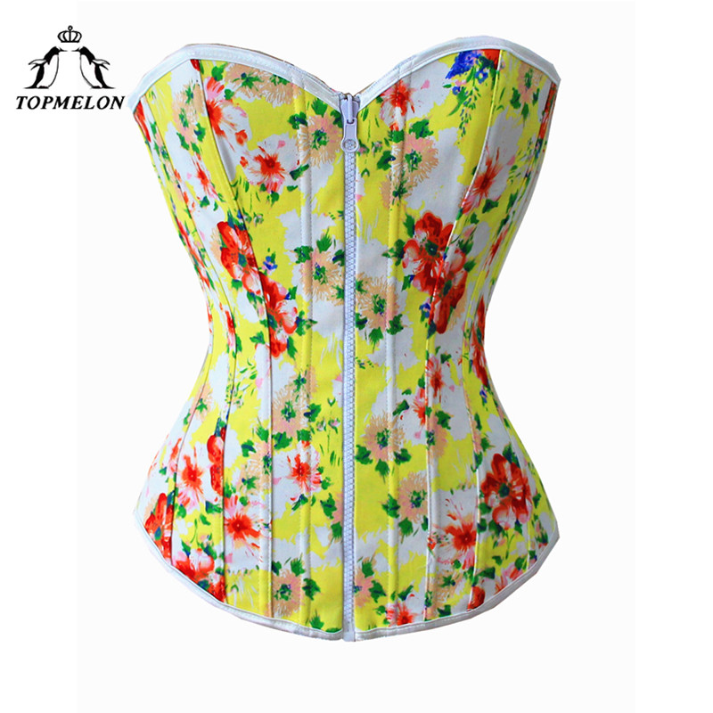 TOPMELON Cotton   Corset   Retro Elegant Floral Top   Bustier   Overbust Sleeveless   Corsets   Sexy Style Zipper Closure Women Tops