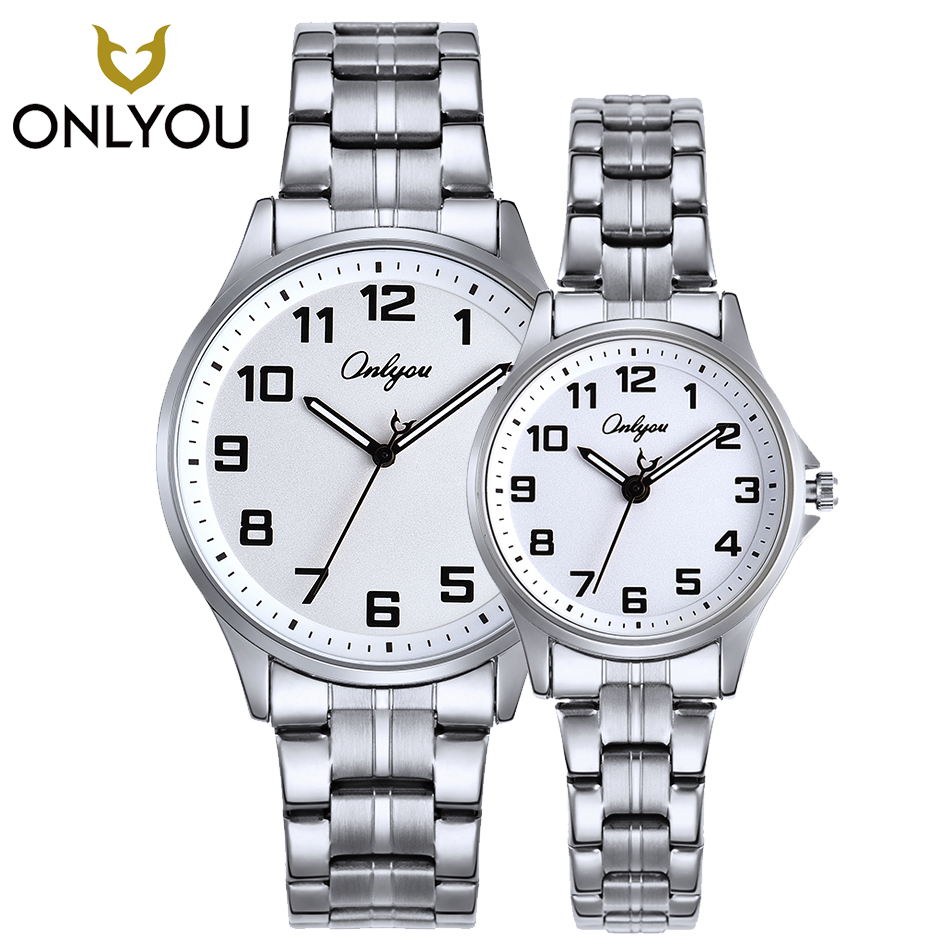 ONLYOU Lover Watches Top Brand Luxury Couple Quartz Wristwatch Men Gold Fashion Business Stainless Steel Clock Women Dress