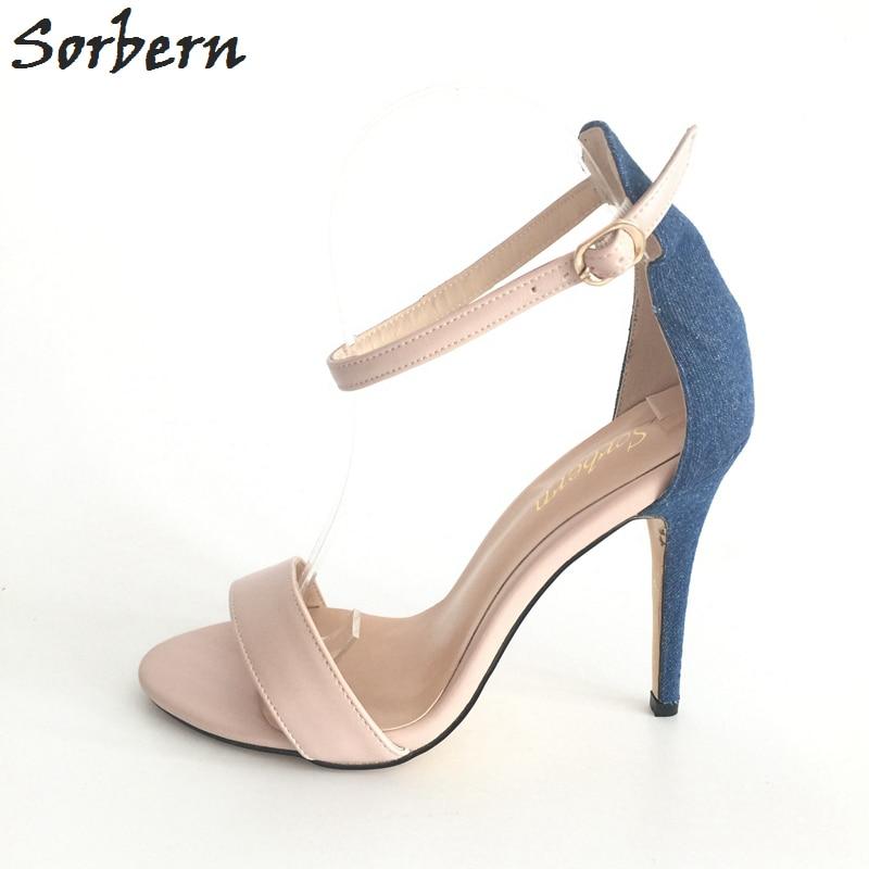 Chaussures Stilettos Style Femme Ouvert À Sandales Denim Sexy Nouveau Femmes Nues Simple 2017 Bout Couleurs Color Personnalisé Dames Nude custom Talons Couverture yv8nP0wNOm