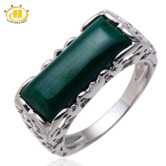 HUTANG Natural Malachite Solid 925 Sterling Silver Filigree Ring Women's Fine Jewelry