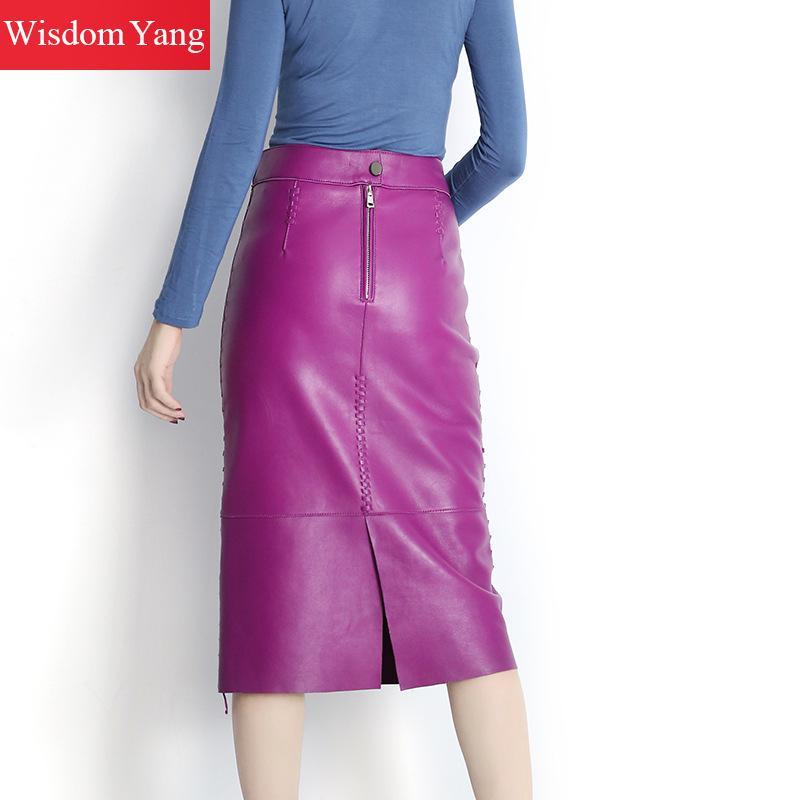 purple Jupes Mouton Cuir Portefeuille Violet Femmes Jupe Haute De Crayon Automne Noir Parti Peau Véritable Dames Skirt Sexy En Skirt Black Midi Taille Réel wBZvpvxX