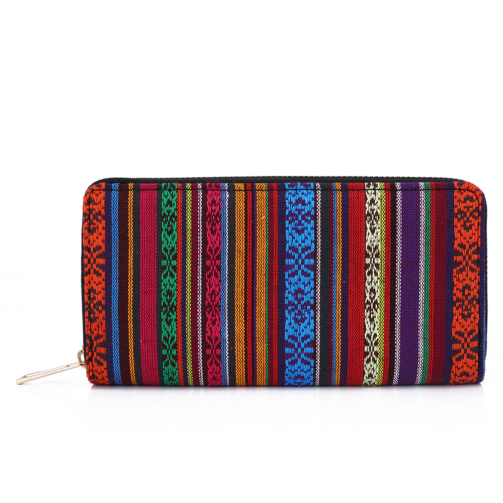 SANSARYA 2018 Hippy Hippe Bohemian Aztec Thai Woven Red Long Zipper Women Wallets Vintage Card Holder Ladies Female Purse non woven fabrics hanging type 18 cd dvd card holder beige