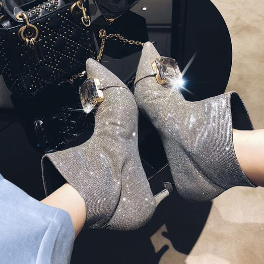 b882aeb71434 2019 New Arrival Bling-bling Ankle Boots Big Crystal Decor Sexy Pointed Toe  Kitten Heel Pumps INS Fashion Shoes Women