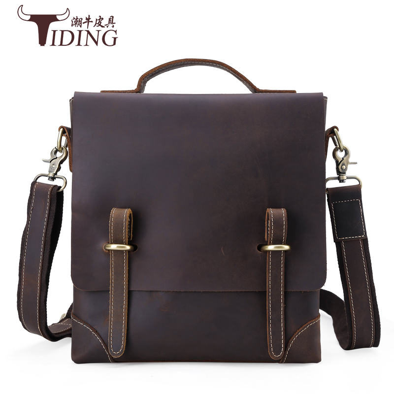 Vintage Crazy Horse Genuine Leather Bag Men Messenger Bags Small Shoulder Crossbody Bags for Men Bag Male Top-handle Handbag simline 2017 vintage genuine crazy horse leather cowhide men men s messenger bag small shoulder crossbody bags handbags for man
