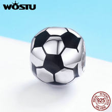 WOSTU New Trendy 925 Sterling Silver I Love Football, Black Enamel Charm fit Beads Bracelet Necklace DIY Jewelry Making FIC666(China)