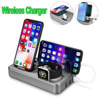 Wireless USB Charging Station 3 in 1 Multi Device Charging Station, Smart Wireless Charger with Hold for Mobile Phone