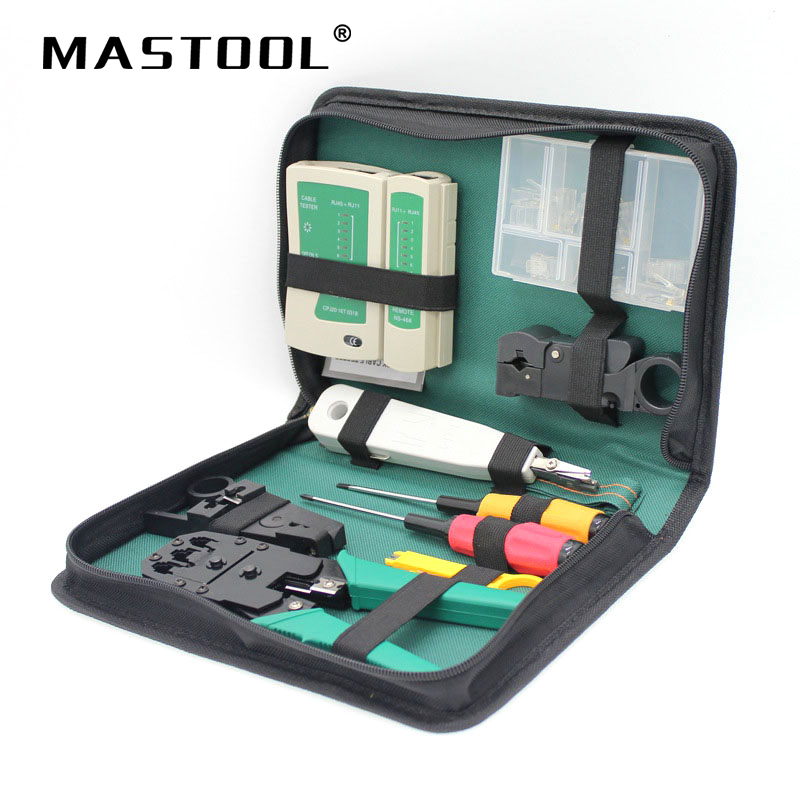 9 in 1 Computer Tool Kit Cable Wire Tester Crimping Cutter Punch Down Stripping Cable Tools Kit Computer Network Repair Tool Kit 11 in 1 professional network computer maintenance repair tool kit cross flat screwdriver crimping pliers tool set
