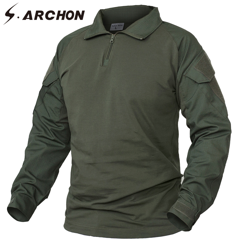 S.ARCHON Camouflage Army   T  -  Shirt   Men RU US Soldiers Combat Tactical   T     Shirt   Military Force Camo Multicam Long Sleeve   T     Shirts