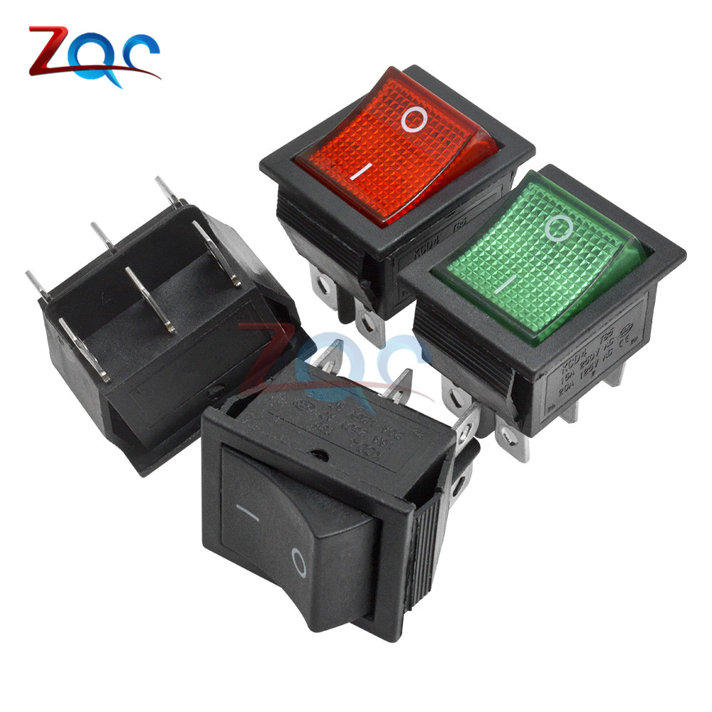 KCD4 Кулисный Переключатель Кнопка ВКЛ/ВЫКЛ 2 Позиции 4 штырей, 6pins, электротехническое оборудование с светильник Мощность переключатель 16A 250VAC AC 250V
