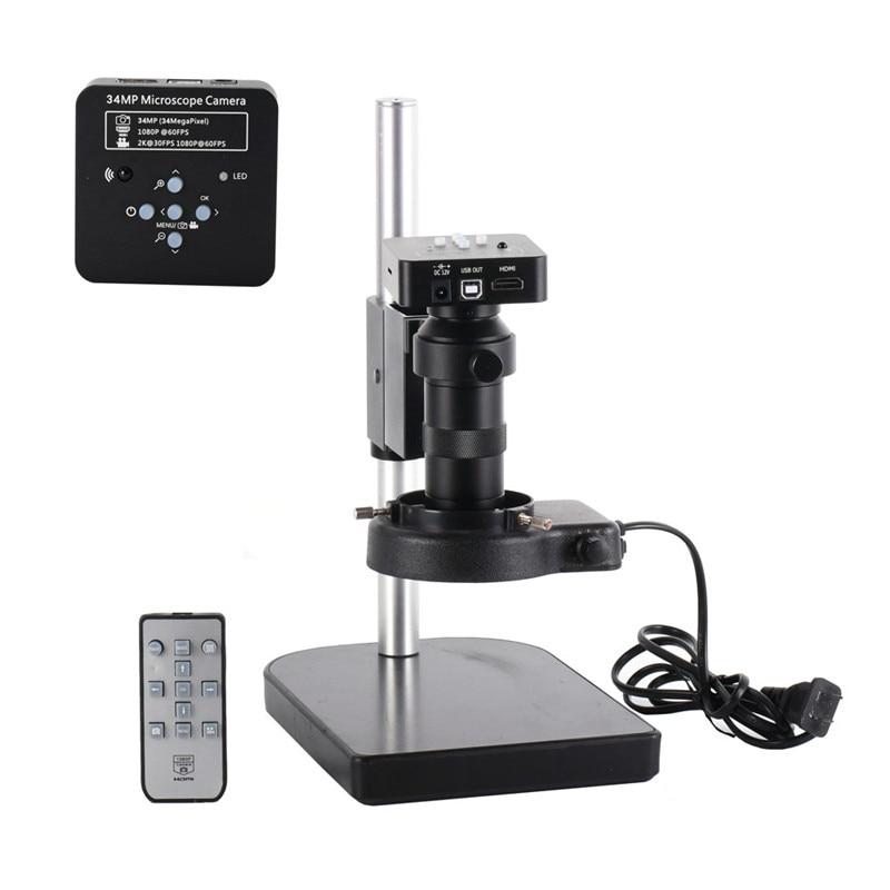 Full Set 34MP 2KIndustrial Microscope Camera HDMI USB Outputs 100X C mount Lens 144 LED Light