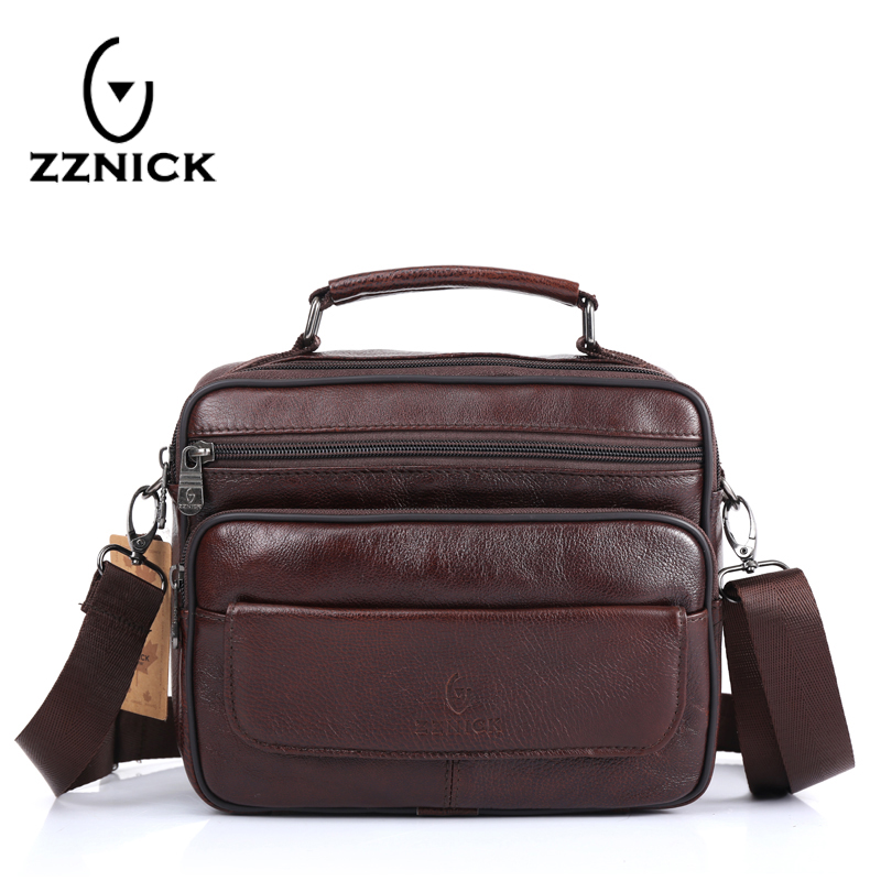 ZZNICK Genuine Leather Bag top-handle Men Bags Male Shoulder Crossbody Bags Messenger Small Flap Casual Handbags Men Leather Bag zznick 2017 genuine leather bag men crossbody bags fashion men s messenger leather shoulder bags handbags small travel male bag