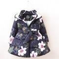 Зимние куртки для девочек; детская модная парка с цветочным принтом для девочек; пальто; теплые флисовые куртки для девочек; PT1025