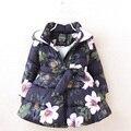 Giacche invernali per le ragazze dei capretti di modo stampato floreale delle ragazze parka cappotti di spessore in pile per bambini caldi delle ragazze giacche PT1025