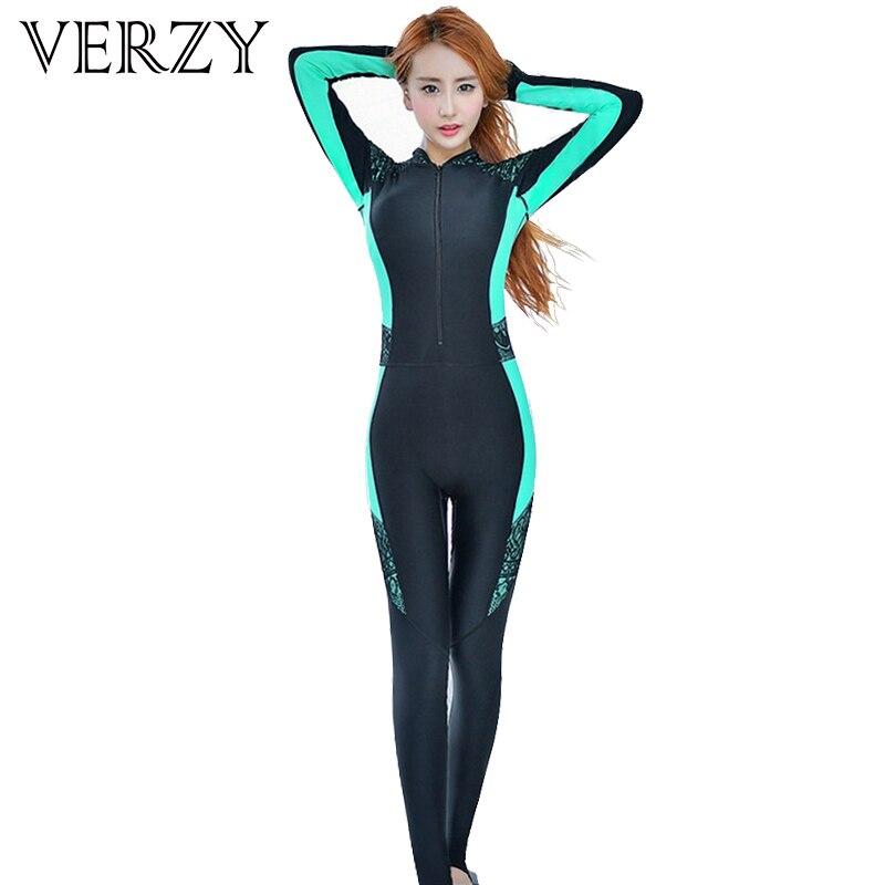 Сексуальный гидрокостюм для женщин, костюм для серфинга, купальник на молнии, цельный костюм для дайвинга, полный костюм с длинным рукавом, ...
