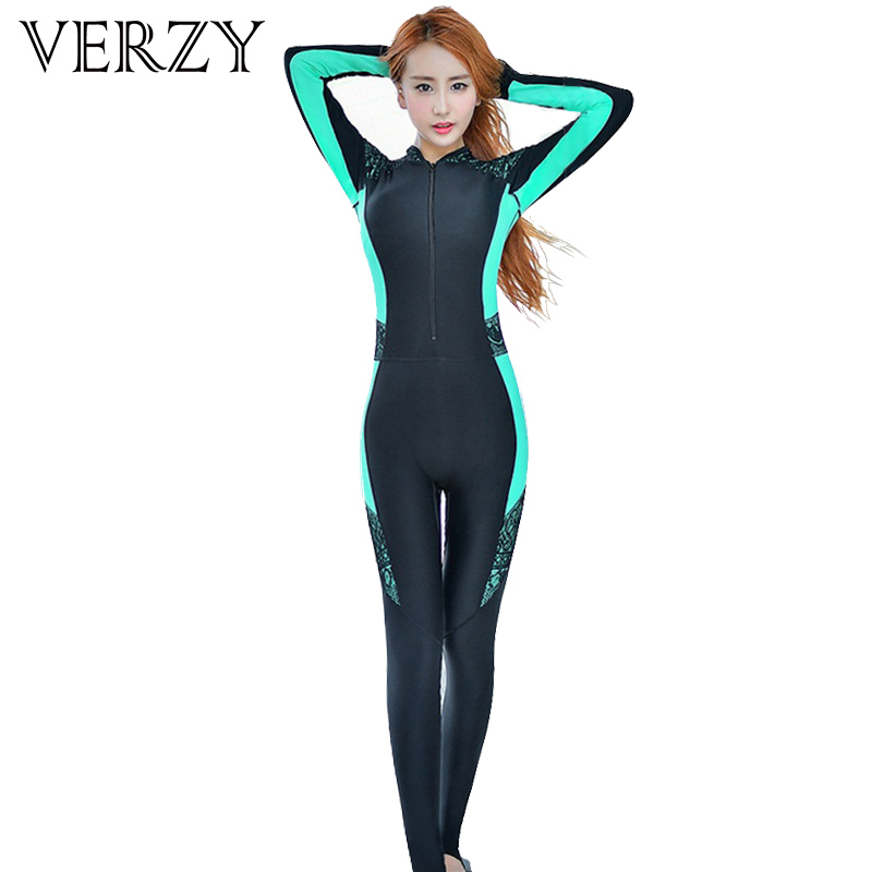 296df8efe63aa Sexy Wetsuit Women Surfing Costume Swimwear Zipper One Piece Diving Suit  Fullsuit Long Sleeve Standing Collar Swimming Bodysuit