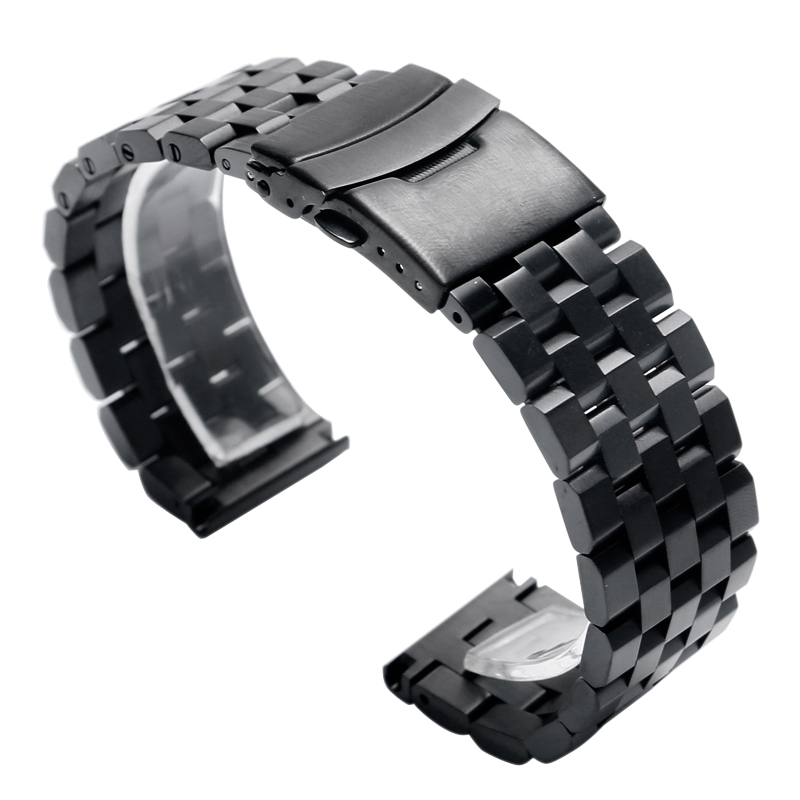 20/22MM Stainless Steel Band Strap Silver/Black Bracelet Solid Links Folding Clasp Safety For Women Men Wrist Watch High Quality high quality genuine leather watchband 22mm brown black wrist watch band strap wristwatches stitched belt folding clasp men